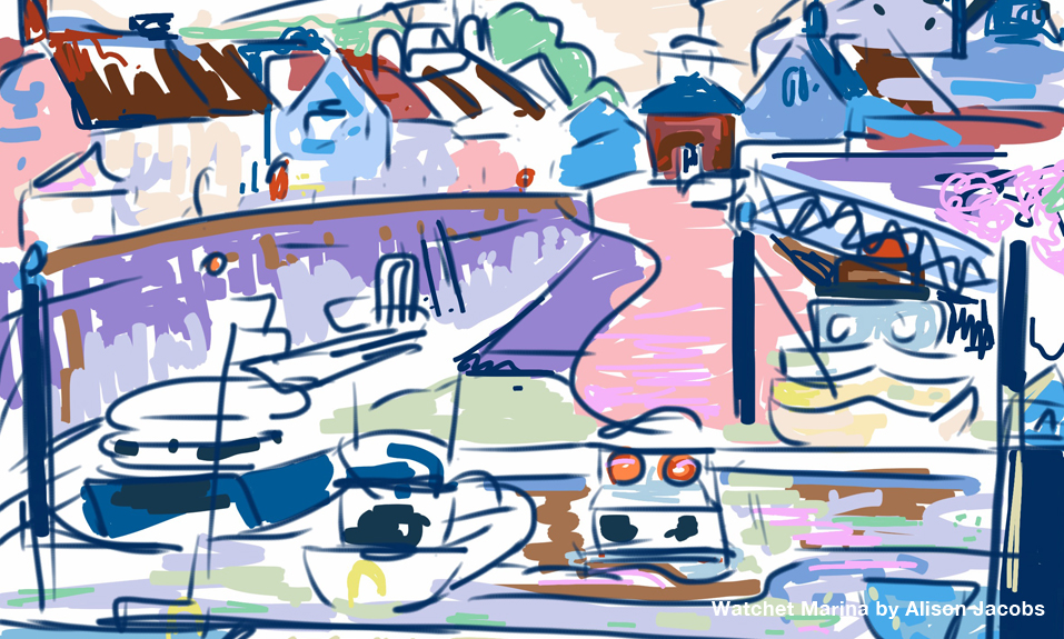 iPad painting of Watchet Marina