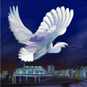 painting of a little egret over burnham on sea